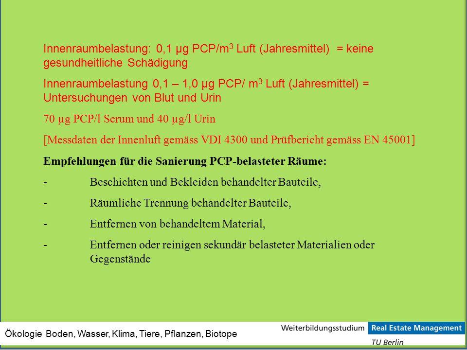 70 µg PCP/l Serum und 40 µg/l Urin