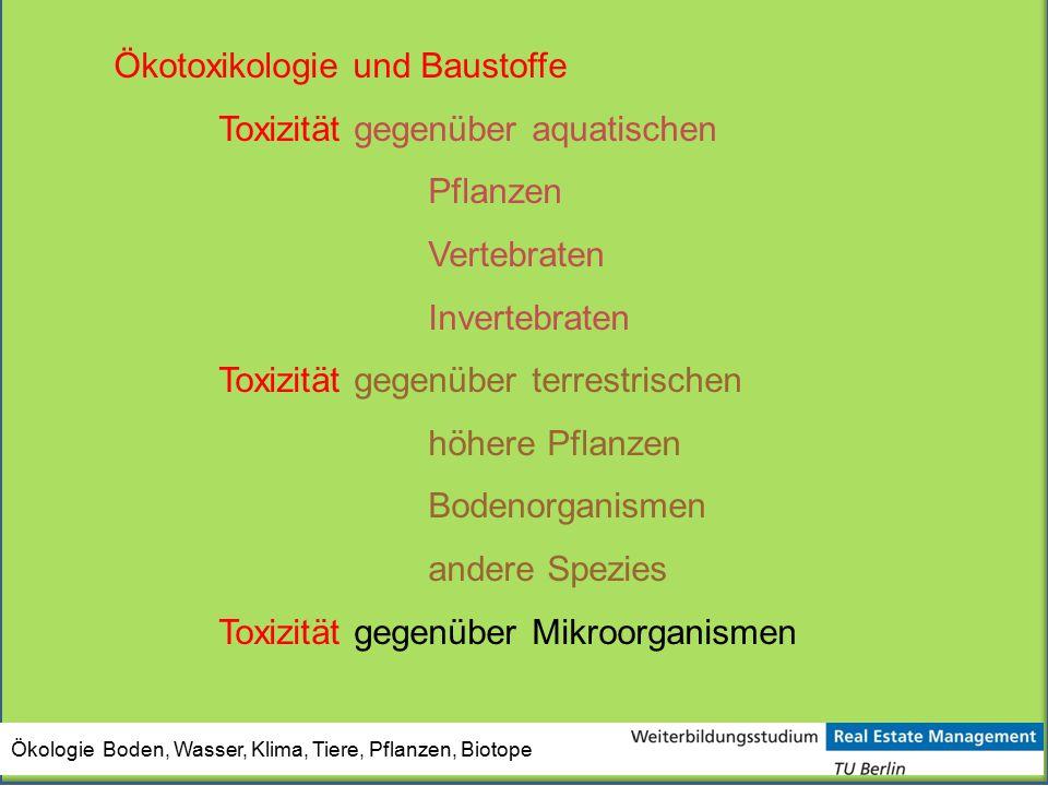 Ökotoxikologie und Baustoffe Toxizität gegenüber aquatischen Pflanzen