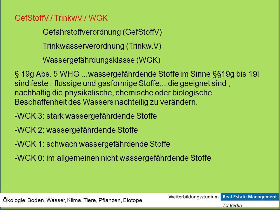 GefStoffV / TrinkwV / WGK Gefahrstoffverordnung (GefStoffV)
