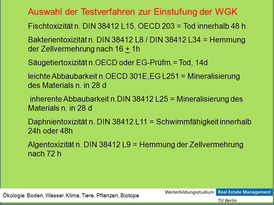 Auswahl der Testverfahren zur Einstufung der WGK