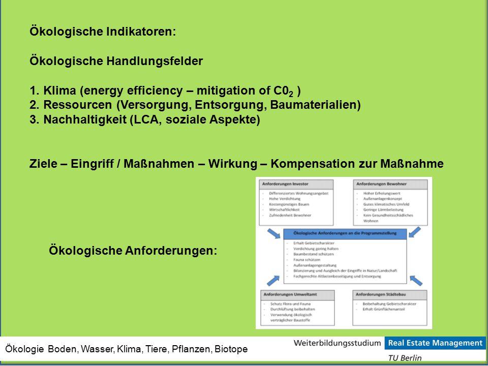 Ökologische Indikatoren: Ökologische Handlungsfelder