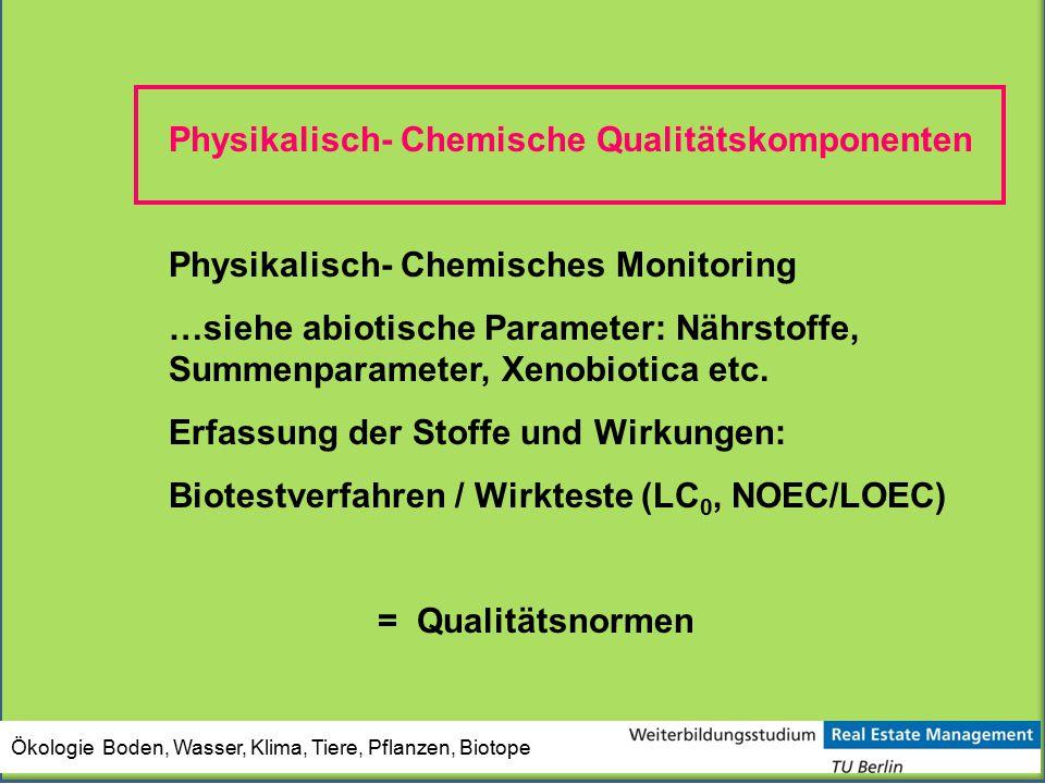 Physikalisch- Chemische Qualitätskomponenten