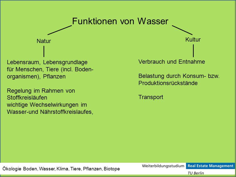 Funktionen von Wasser Kultur Natur Lebensraum, Lebensgrundlage