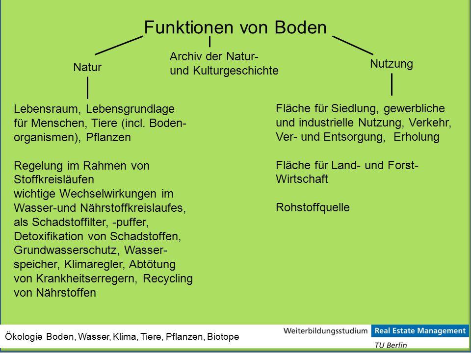 Funktionen von Boden Archiv der Natur- und Kulturgeschichte Nutzung