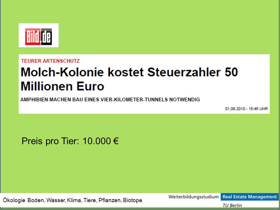Preis pro Tier: 10.000 € Ökologie Boden, Wasser, Klima, Tiere, Pflanzen, Biotope