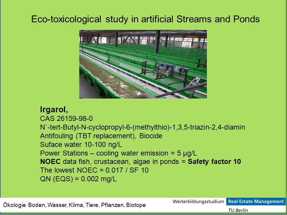 Eco-toxicological study in artificial Streams and Ponds
