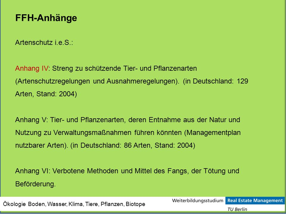 FFH-Anhänge Artenschutz i.e.S.: