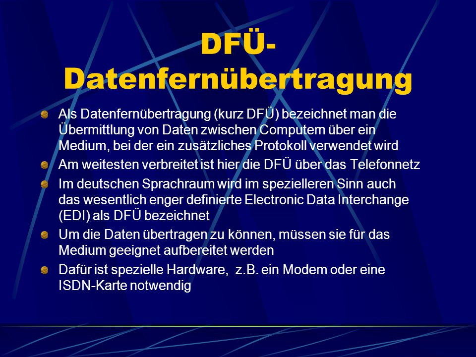 DFÜ- Datenfernübertragung