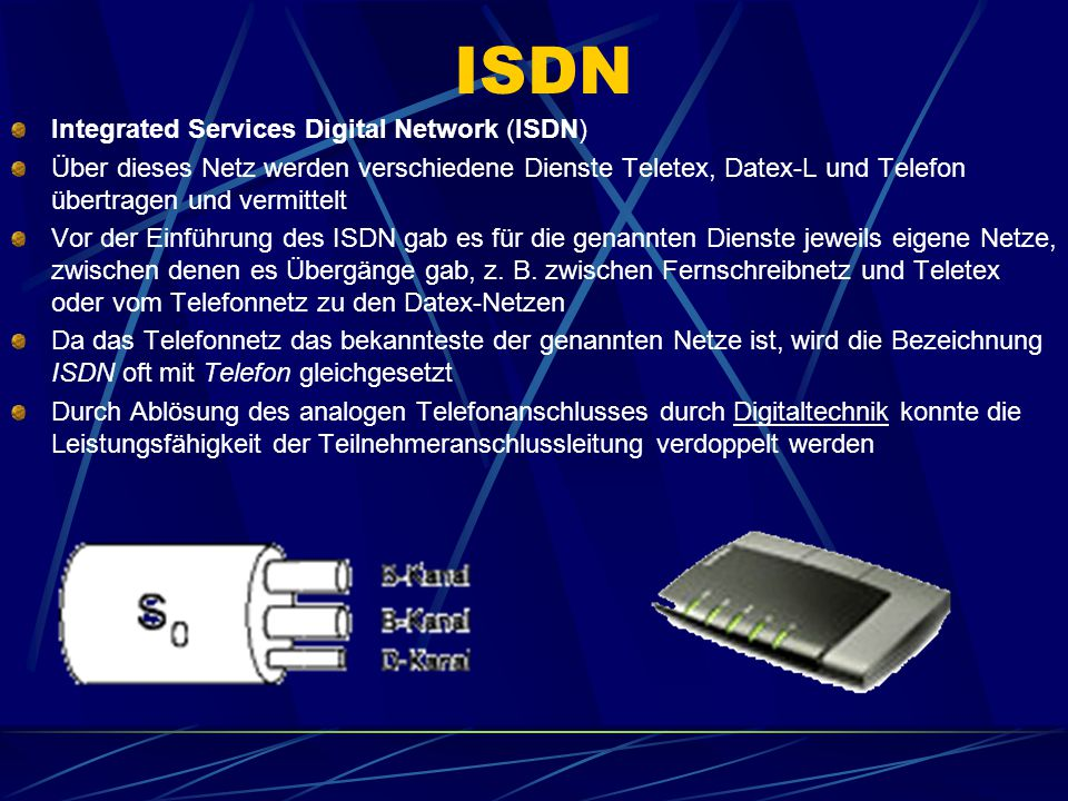 ISDN Integrated Services Digital Network (ISDN)
