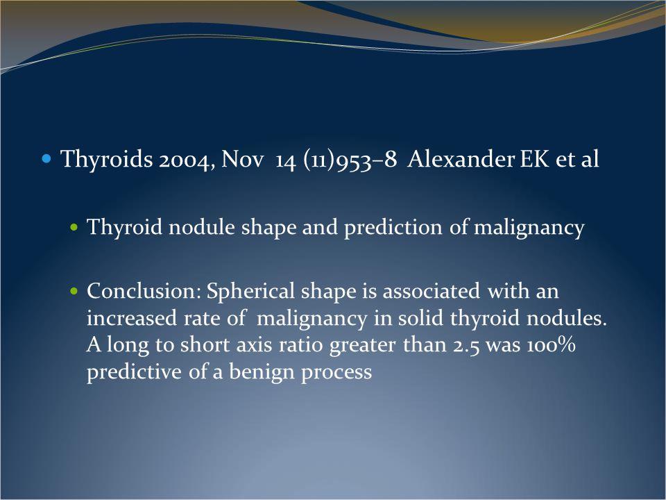 Thyroids 2004, Nov 14 (11)953–8 Alexander EK et al