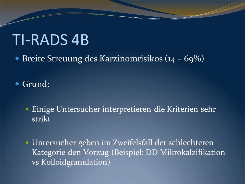 TI-RADS 4B Breite Streuung des Karzinomrisikos (14 – 69%) Grund: