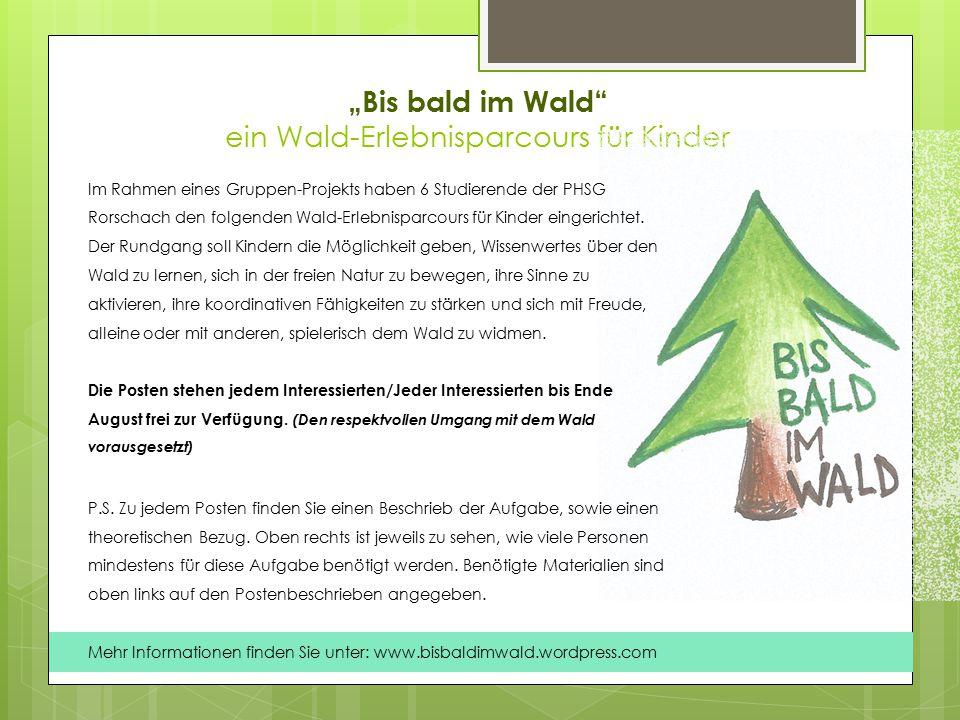 """""""Bis bald im Wald ein Wald-Erlebnisparcours für Kinder"""