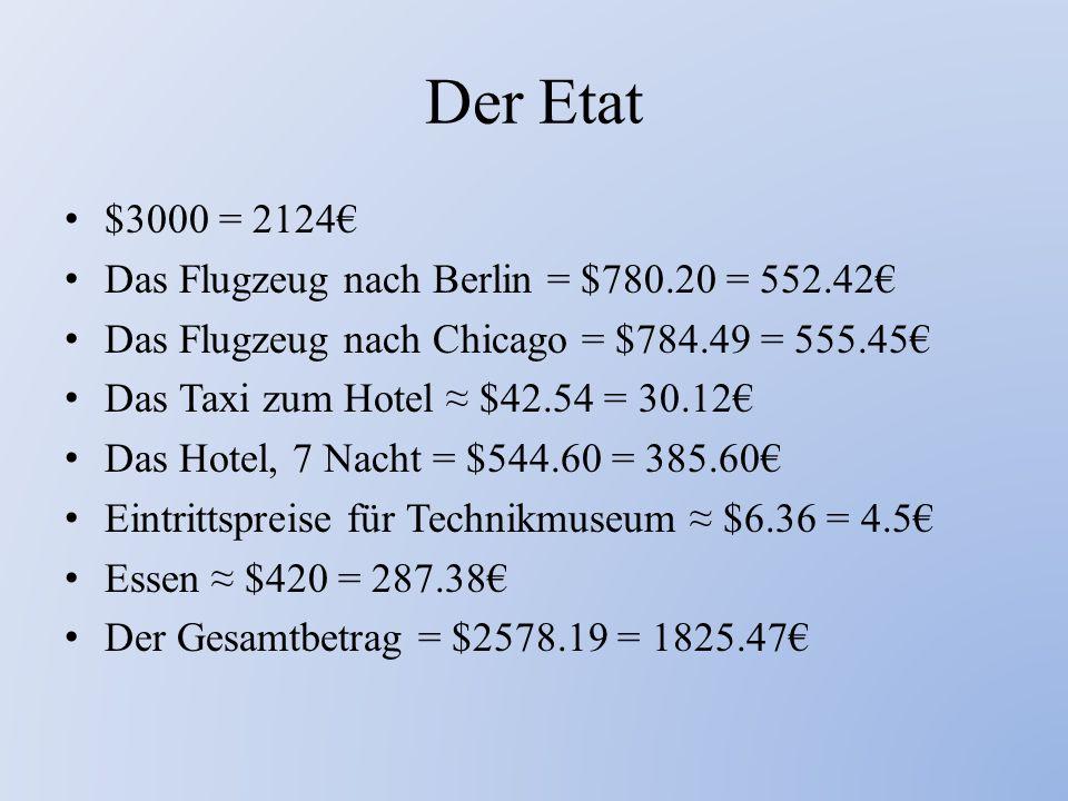 Der Etat $3000 = 2124€ Das Flugzeug nach Berlin = $780.20 = 552.42€