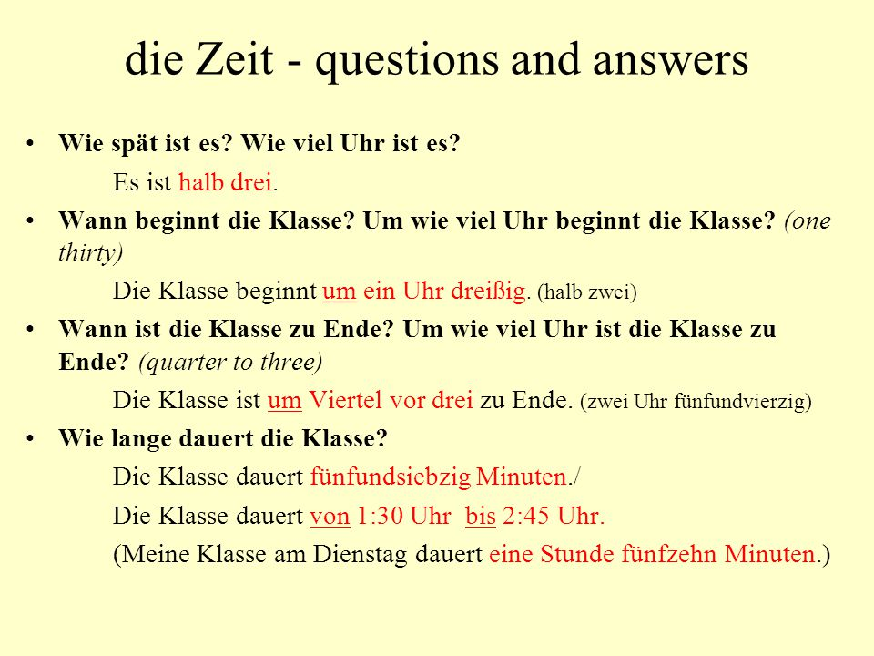 die Zeit - questions and answers