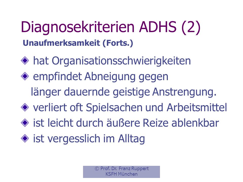 Diagnosekriterien ADHS (2)