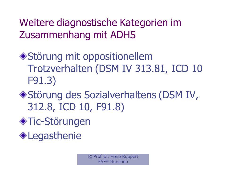 Weitere diagnostische Kategorien im Zusammenhang mit ADHS