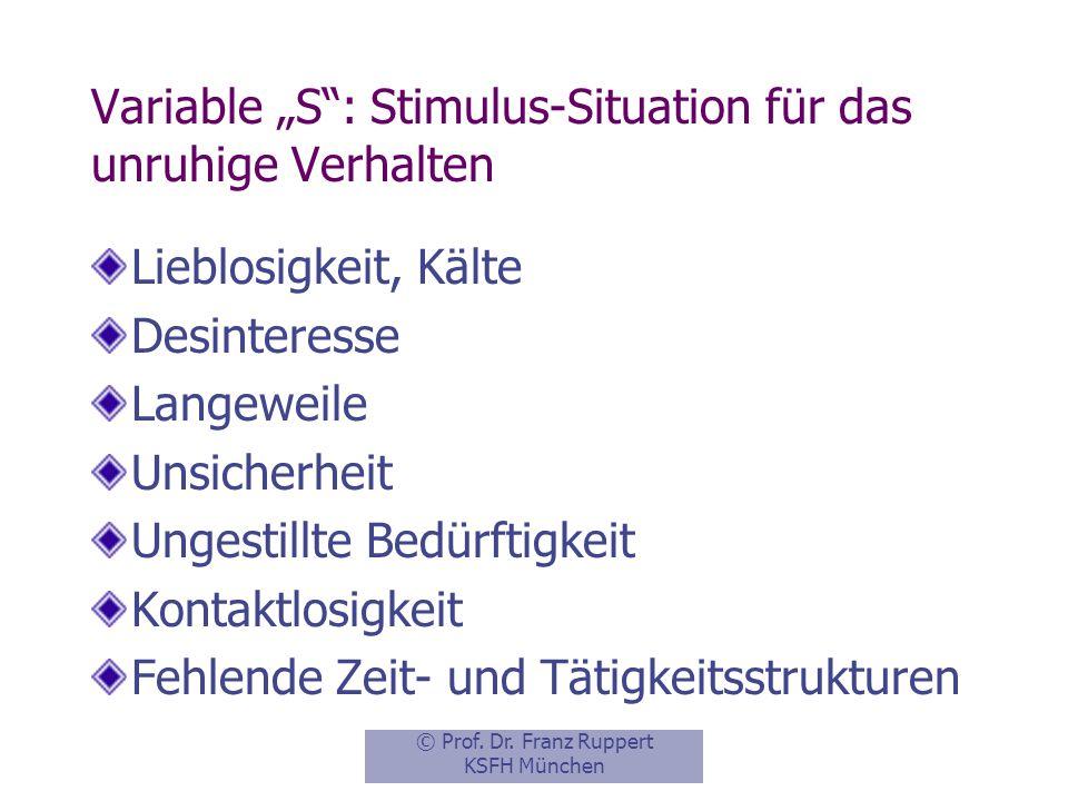 """Variable """"S : Stimulus-Situation für das unruhige Verhalten"""