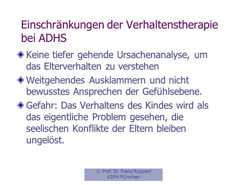 Einschränkungen der Verhaltenstherapie bei ADHS