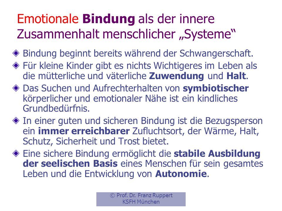 """Emotionale Bindung als der innere Zusammenhalt menschlicher """"Systeme"""
