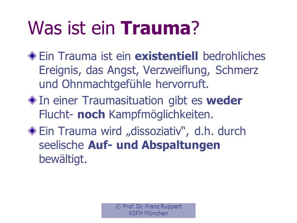 Was ist ein Trauma Ein Trauma ist ein existentiell bedrohliches Ereignis, das Angst, Verzweiflung, Schmerz und Ohnmachtgefühle hervorruft.