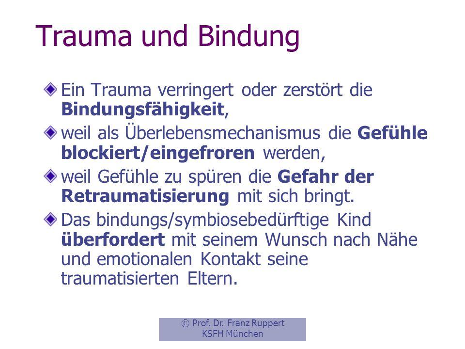 Trauma und Bindung Ein Trauma verringert oder zerstört die Bindungsfähigkeit,