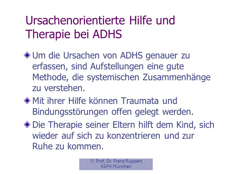 Ursachenorientierte Hilfe und Therapie bei ADHS