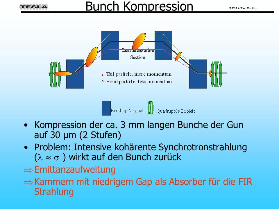 Bunch Kompression Kompression der ca. 3 mm langen Bunche der Gun auf 30 µm (2 Stufen)