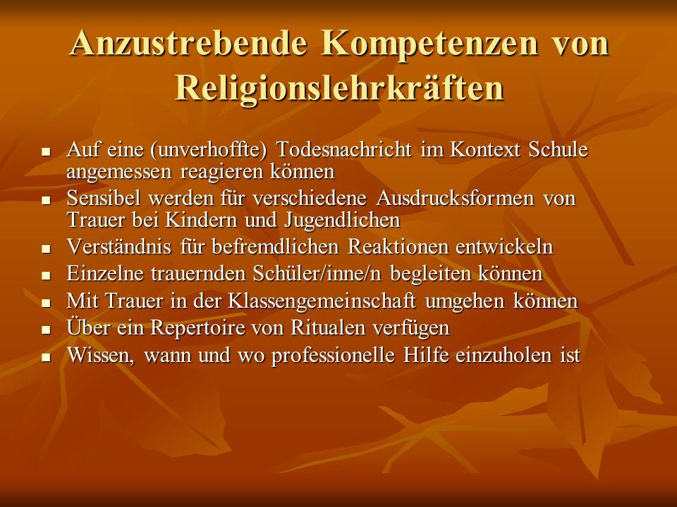 Anzustrebende Kompetenzen von Religionslehrkräften