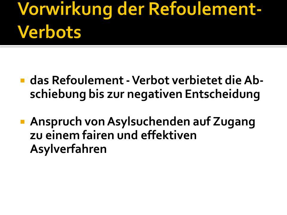 Vorwirkung der Refoulement-Verbots