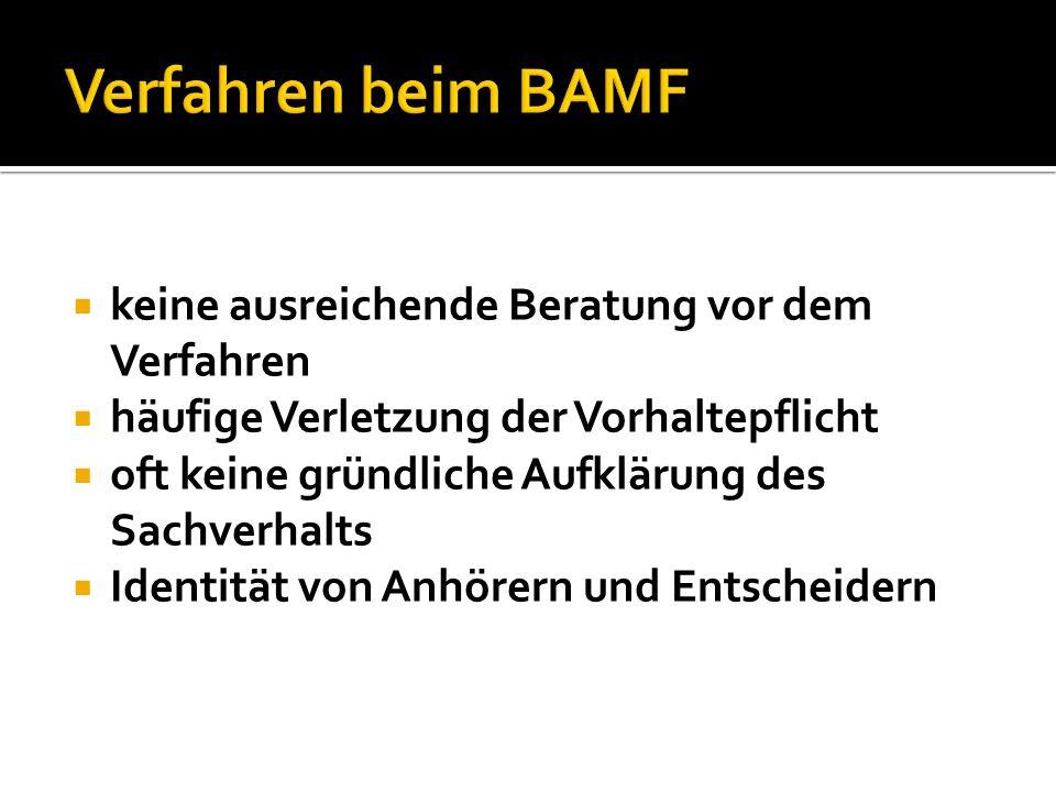 Verfahren beim BAMF keine ausreichende Beratung vor dem Verfahren