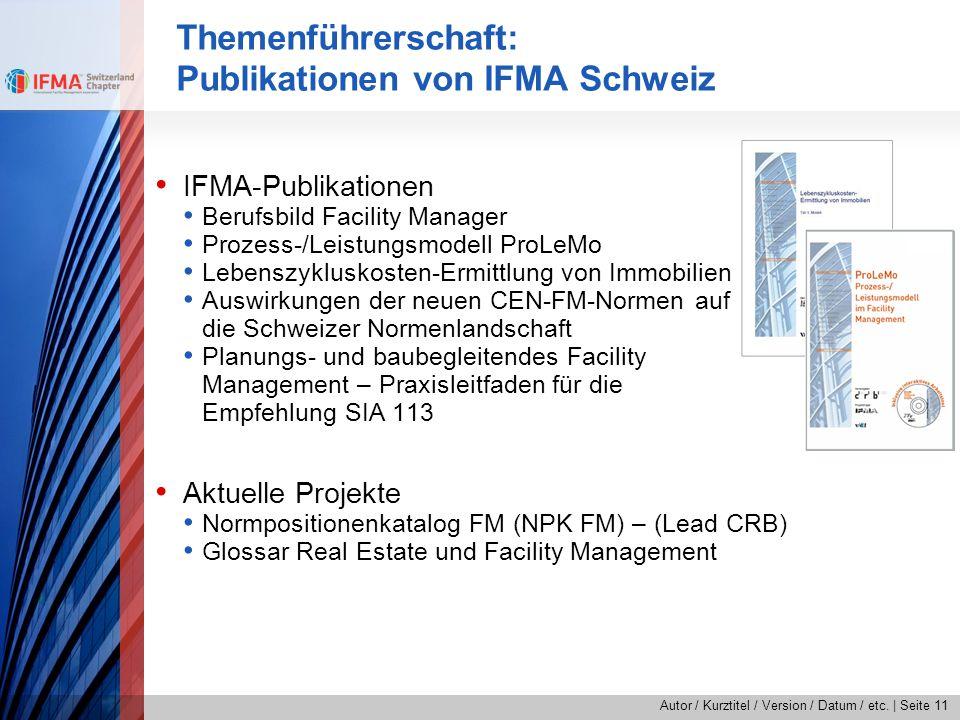 Themenführerschaft: Publikationen von IFMA Schweiz