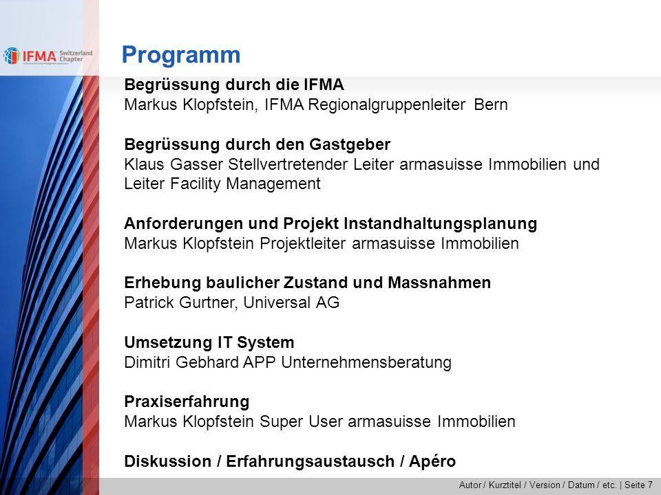 Programm Begrüssung durch die IFMA
