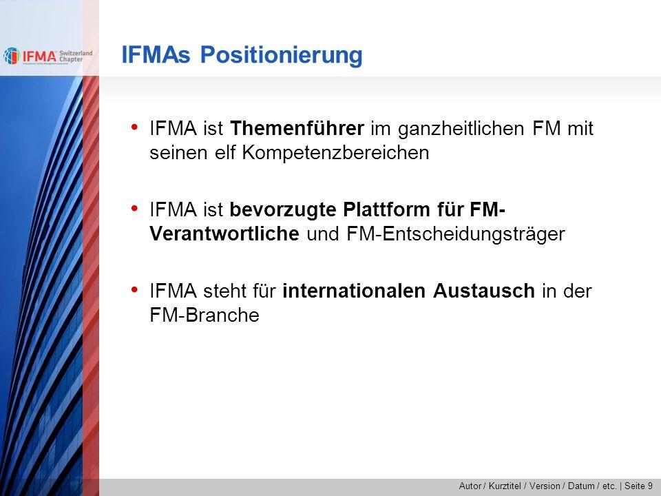 IFMAs Positionierung IFMA ist Themenführer im ganzheitlichen FM mit seinen elf Kompetenzbereichen.