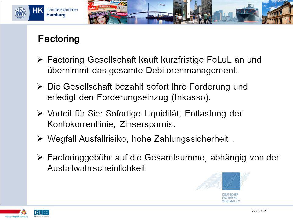 Factoring Factoring Gesellschaft kauft kurzfristige FoLuL an und übernimmt das gesamte Debitorenmanagement.