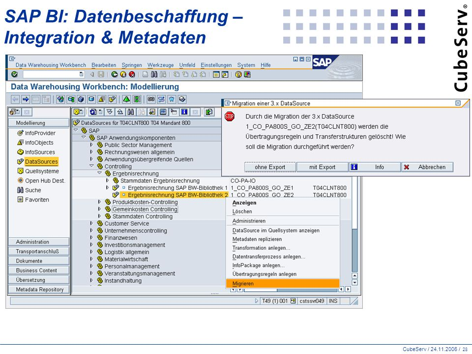 SAP BI: Datenbeschaffung – Integration & Metadaten