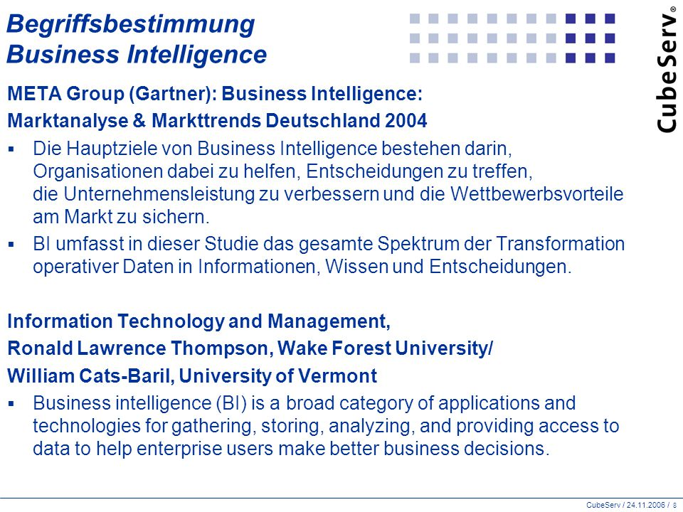 Begriffsbestimmung Business Intelligence