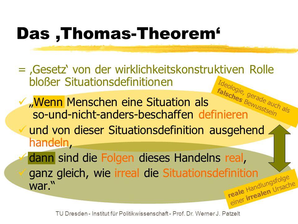 Das 'Thomas-Theorem' = 'Gesetz' von der wirklichkeitskonstruktiven Rolle bloßer Situationsdefinitionen.
