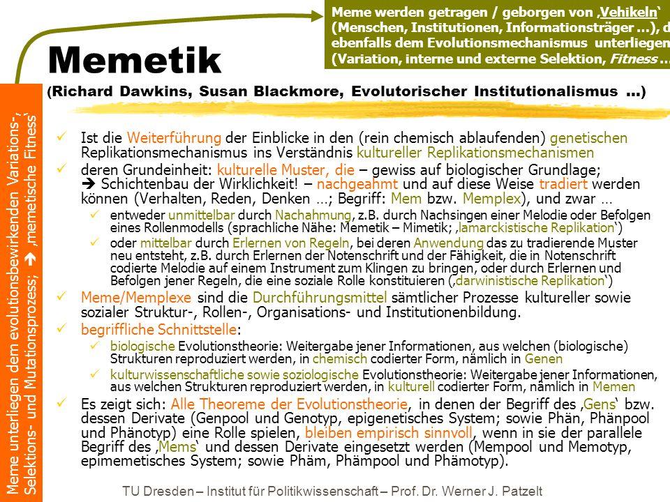 Meme werden getragen / geborgen von 'Vehikeln' (Menschen, Institutionen, Informationsträger …), die ebenfalls dem Evolutionsmechanismus unterliegen (Variation, interne und externe Selektion, Fitness …)