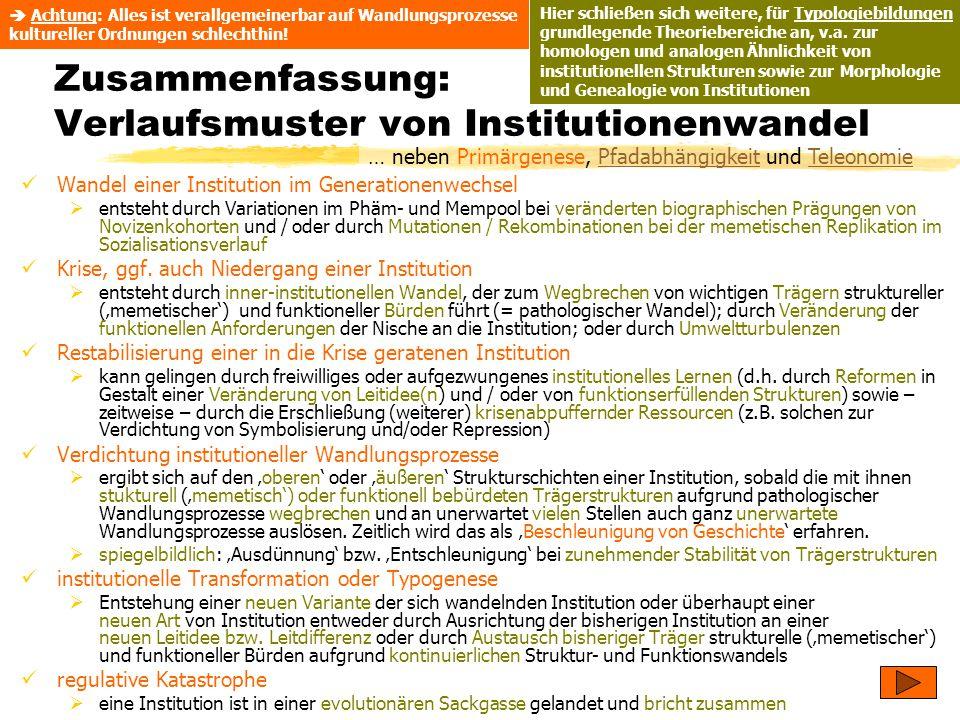 Zusammenfassung: Verlaufsmuster von Institutionenwandel