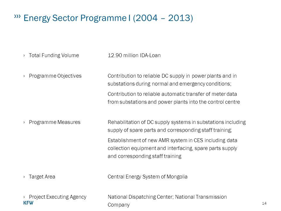 Energy Sector Programme I (2004 – 2013)