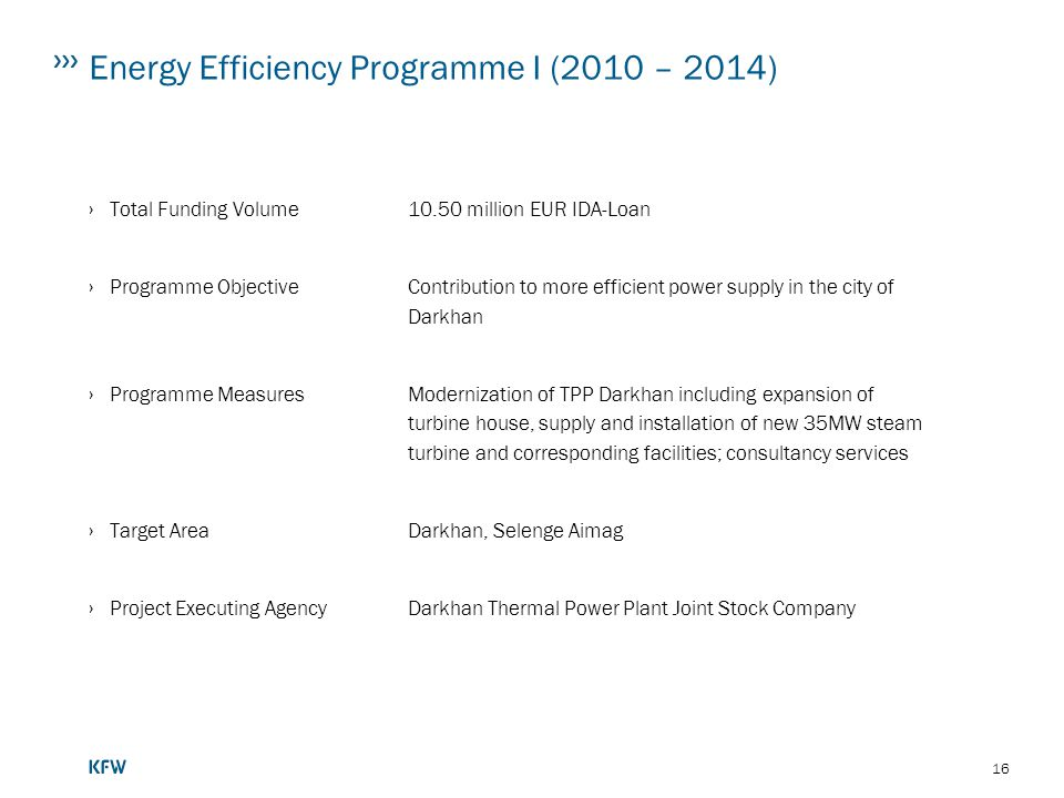 Energy Efficiency Programme I (2010 – 2014)