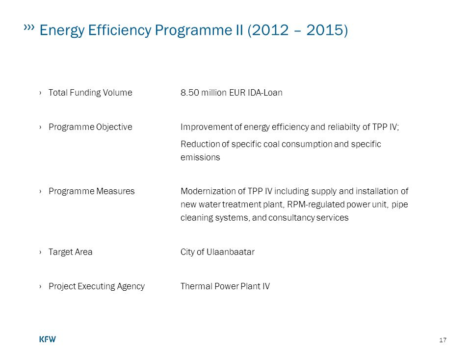Energy Efficiency Programme II (2012 – 2015)