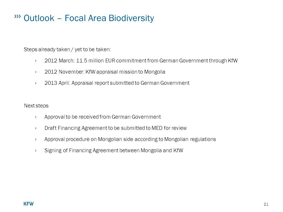 Outlook – Focal Area Biodiversity