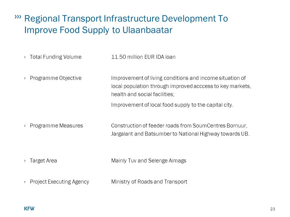Regional Transport Infrastructure Development To Improve Food Supply to Ulaanbaatar