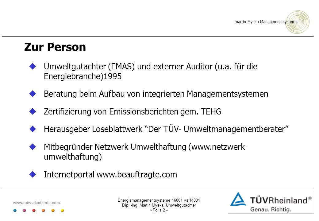 Zur Person Umweltgutachter (EMAS) und externer Auditor (u.a. für die Energiebranche)1995. Beratung beim Aufbau von integrierten Managementsystemen.