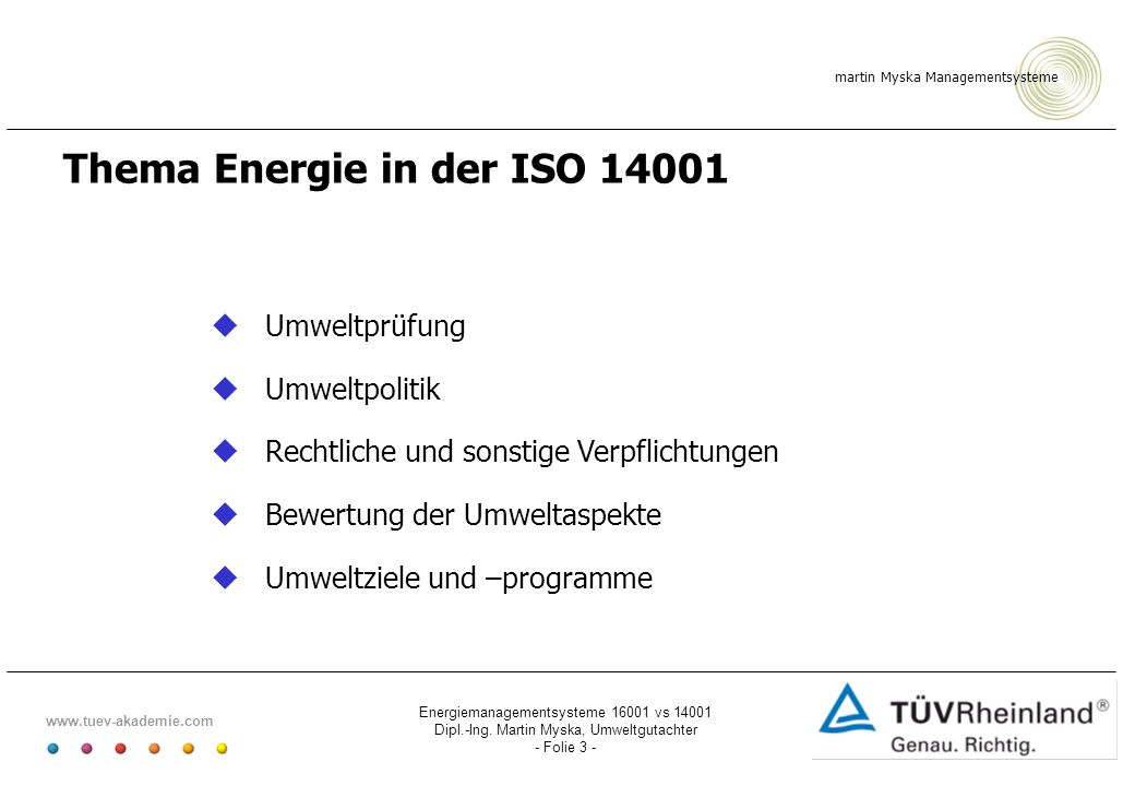 Thema Energie in der ISO 14001
