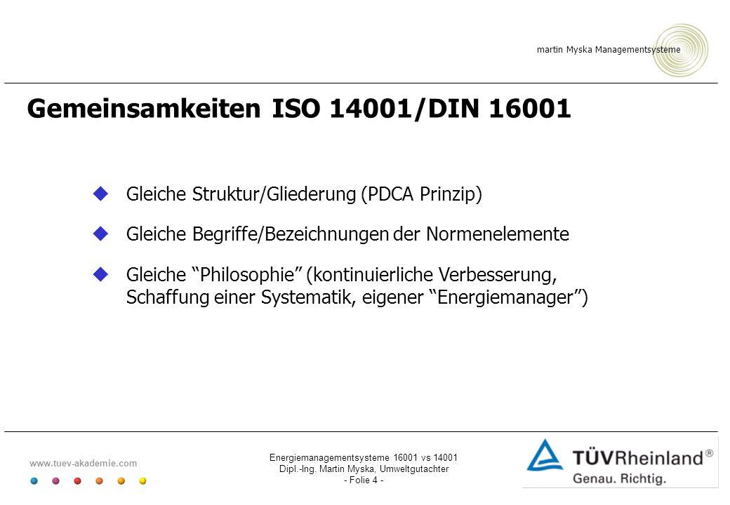 Gemeinsamkeiten ISO 14001/DIN 16001