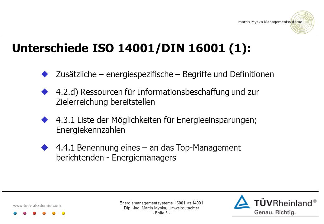 Unterschiede ISO 14001/DIN 16001 (1):