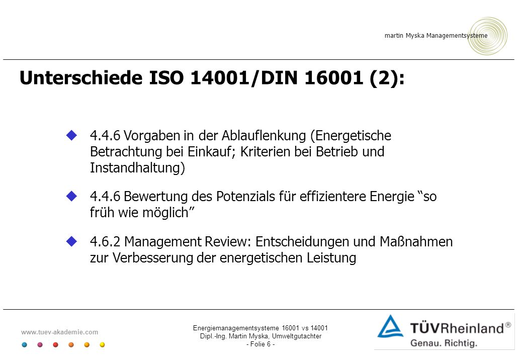 Unterschiede ISO 14001/DIN 16001 (2):