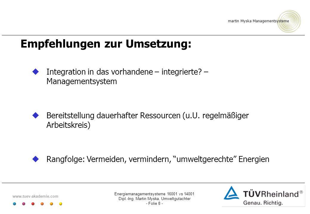 Empfehlungen zur Umsetzung:
